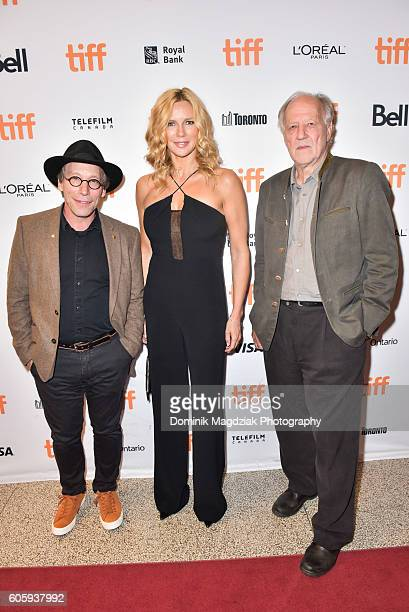 Actor Lawrence Krauss actress Veronica Ferres and director Werner Herzog attend the 'Salt and Fire' premeire during the 2016 Toronto International...
