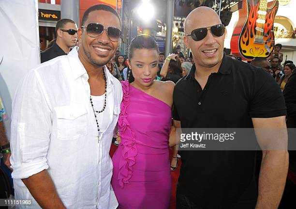 Actor Laz Alonso actress Mirtha Michelle and director/writer Vin Diesel attend Universal Studios Home Entertainment's DVD release of Fast Furious...