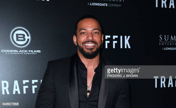 Actor Laz Alonso arrives for the premiere of the film 'Traffik' in Hollywood California on April 19 2018