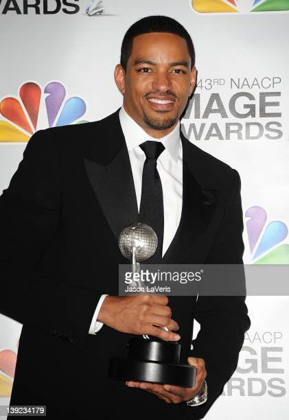 Actor Laz Alonso poses in the press room at the 43rd annual NAACP Image Awards at The Shrine Auditorium on February 17 2012 in Los Angeles California