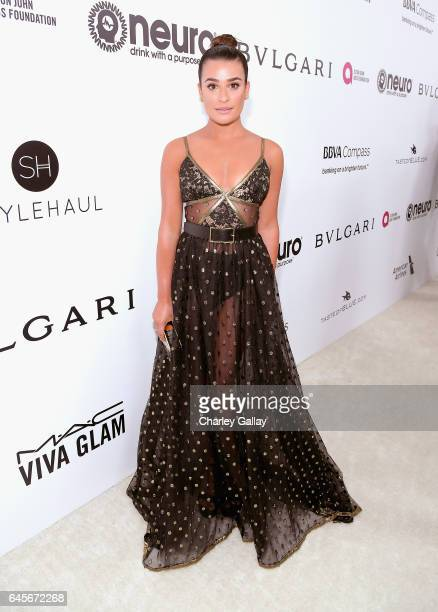 Actor Lea Michele attends the 25th Annual Elton John AIDS Foundation's Academy Awards Viewing Party with cocktails by Clase Azul Tequila and Chopin...