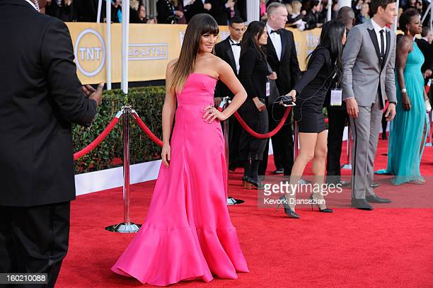 Actor Lea Michelle arrives at the 19th Annual Screen Actors Guild Awards held at The Shrine Auditorium on January 27, 2013 in Los Angeles, California.