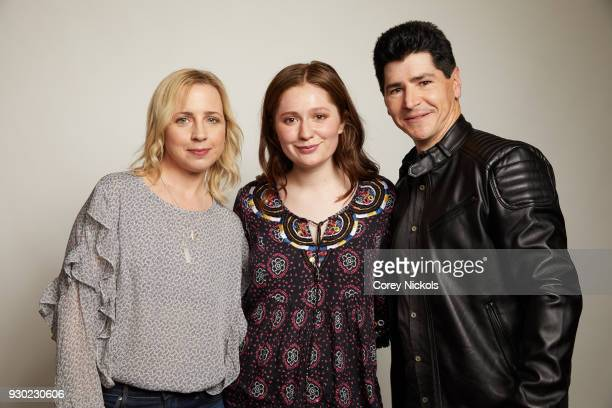 Actor Lecy Goranson Emma Kenney and Michael Fishman from the show Roseanne pose for a portrait in the Getty Images Portrait Studio Powered by Pizza...