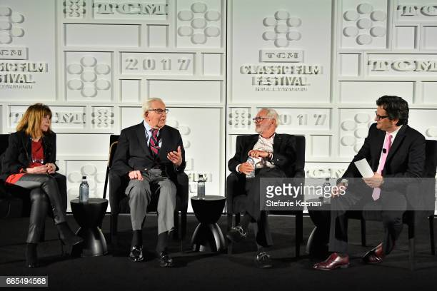 Actor Lee Grant Walter Mirisch director Norman Jewison and host Ben Mankiewicz speak onstage during the 50th anniversary screening of 'In the Heat of...