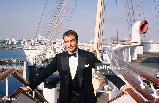 Actor Lee Horsley takes a break on the upper deck of the luxuryliner Queeen Mary during filming of the 1986 TV miniseries Crossings in Long Beach...
