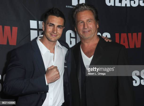 Actor Lee Kholafai and director Jeff Celentano arrive for the premiere of 'Glass Jaw' held at Universal Studios Hollywood on November 9 2017 in...