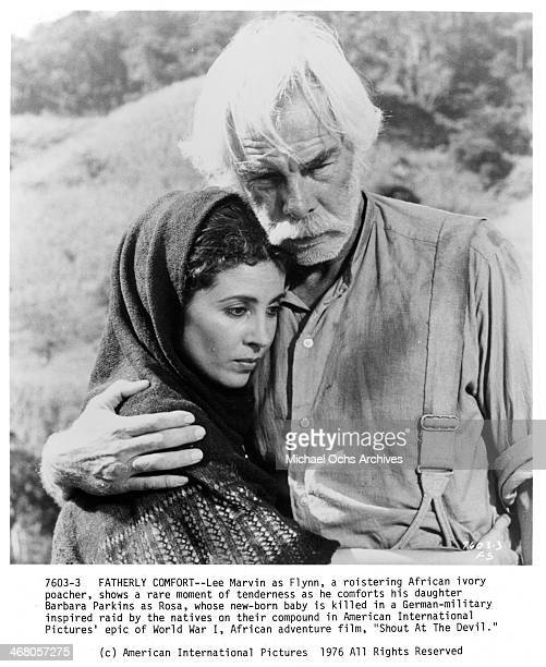 Actor Lee Marvin and actress Barbara Parkins on set of the movie Shout at the Devil circa 1976