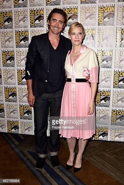 Actor Lee Pace and actress Cate Blanchett attend 'The Hobbit The Battle Of The Five Armies' Press Line during ComicCon International 2014 at Hilton...