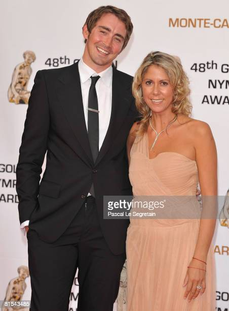 Actor Lee Pace and TV presenter Rachel Bourlier attends the Golden Nymph awards ceremony during the 2008 Monte Carlo Television Festival held at...