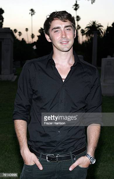 Actor Lee Pace arrives at ABC's sneak preview of Pushing Daisies held at Hollywood Forever Cemetery on August 16 2007 in Los Angeles California
