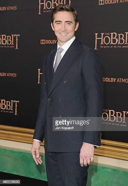 "Actor Lee Pace arrives at the Los Angeles Premiere ""The Hobbit: The Battle Of The Five Armies"" at Dolby Theatre on December 9, 2014 in Hollywood,..."