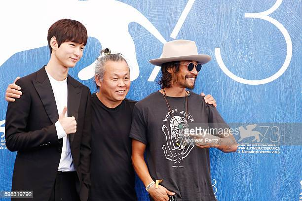 Actor Lee Wongun director Kim Kiduk and actor Ryoo SeungBum attend a photocall for 'Geumul The Net' during the 73rd Venice Film Festival at on...
