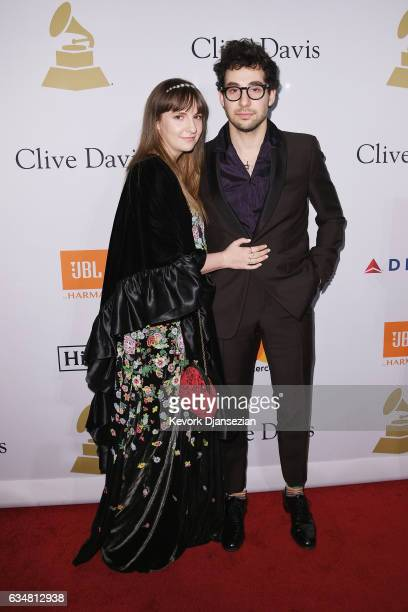 Actor Lena Dunham and musician Jack Antonoff attend Pre-GRAMMY Gala and Salute to Industry Icons Honoring Debra Lee at The Beverly Hilton on February...