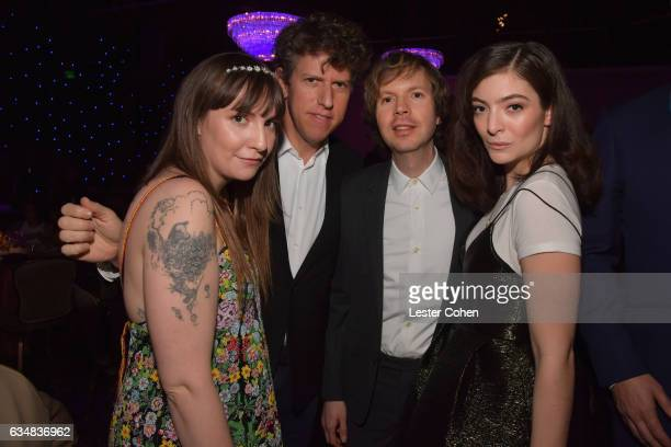 Actor Lena Dunham guest Beck and Lorde attend PreGRAMMY Gala and Salute to Industry Icons Honoring Debra Lee at The Beverly Hilton on February 11...