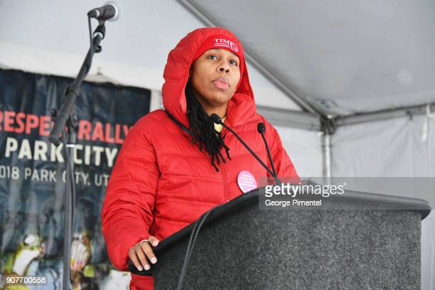 Actor Lena Waithe speaks onstage at the Respect Rally in Park City on January 20th 2018 in Park City Utah