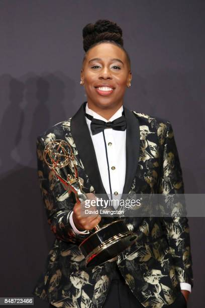 Actor Lena Waithe, winner of Outstanding Writing for a Comedy Series for 'Master of None,' poses in the press room during the 69th Annual Primetime...
