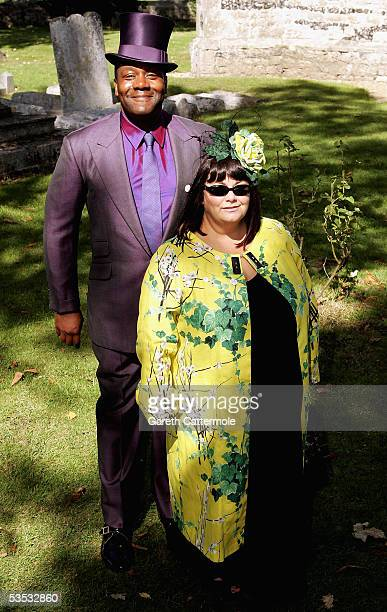 Actor Lenny Henry and actress Dawn French attends the wedding of musician Jools Holland and Christabel McEwen at St James's Church Cooling on August...