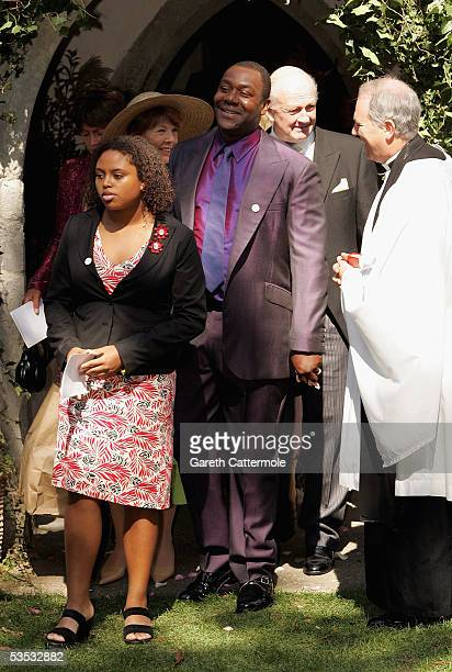 Actor Lenny Henry attends the wedding of musician Jools Holland and Christabel McEwen at St James's Church Cooling on August 30 2005 in Cooling...