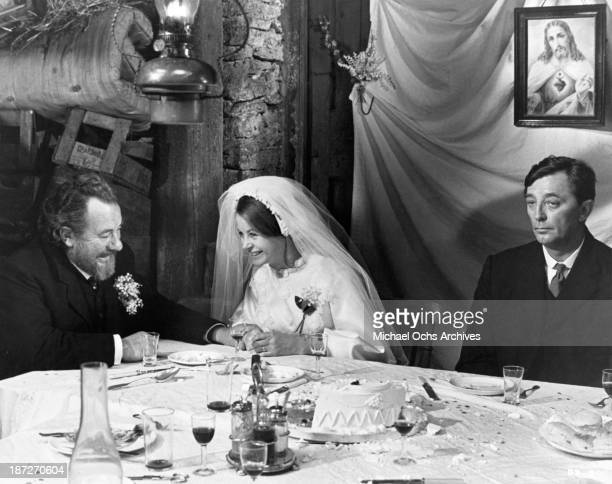 Actor Leo McKern actress Sarah Miles actor Robert Mitchum on set of the MetroGoldwynMayer movie Ryan's Daughter in 1970
