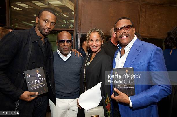 Actor Leon Robinson Music Executive LA Reid Erica Reid and Greg Mathis attend the LA Reid 'Sing To Me' PreGrammy Brunch at Hinoki The Bird on...