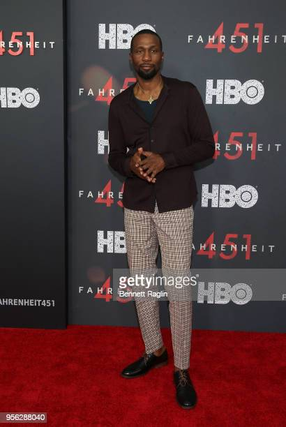 Actor Leon Robinson poses for a picture on the red carpet during the Fahrenheit 451 New York premiere at NYU Skirball Center on May 8 2018 in New...