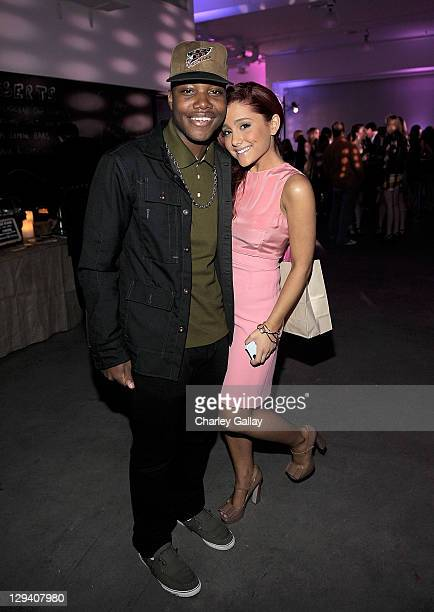 Actor Leon Thomas III and actress Ariana Grande attend Miranda Cosgrove's 18th birthday party at Siren Studios on June 11 2011 in Hollywood California