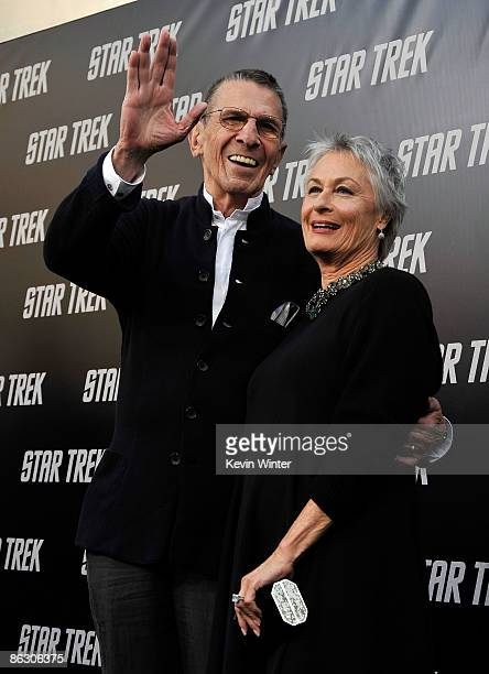 """Actor Leonard Nimoy and wife Susan Bay arrive on the red carpet of the Los Angeles premiere of """"Star Trek"""" at the Grauman's Chinese Theatre on April..."""
