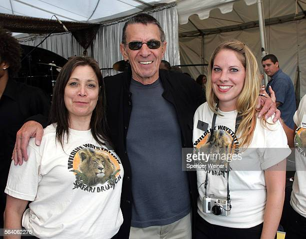 Actor Leonard Nimoy center with Wildlife Waystation volunteers Marilynn Pagano–Smith left and Aimee Belden right The 11th Annual Safari Brunch...