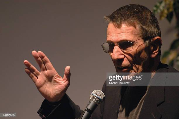 """Actor Leonard Nimoy does the vulcan salute as he presents his photography exhibition and his book """"Shekhina"""" at the Skirball Cultural Center on..."""