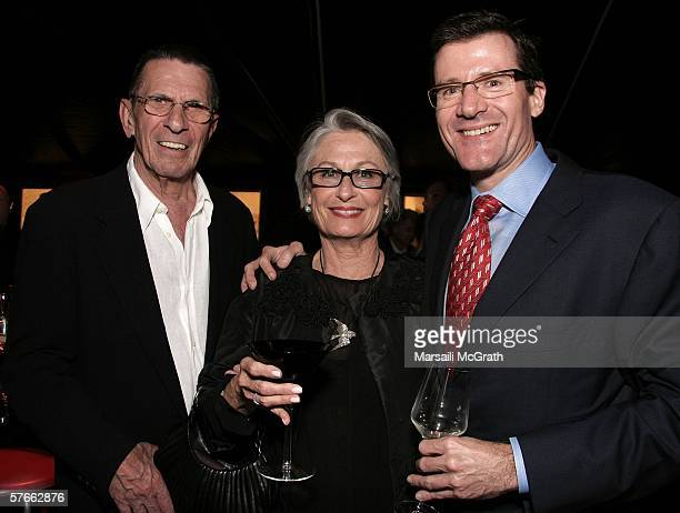 Actor Leonard Nimoy his wife Susan and Michael Sandler attend the opening gala for MOCAs Robert Rauschenberg Exhibition at Moca on May 19 2006 in Los...