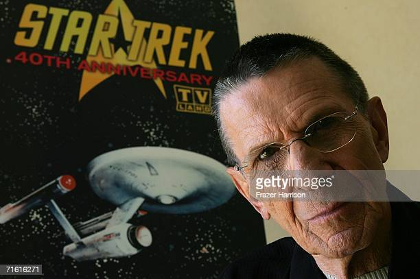 """Actor Leonard Nimoy promotes the """"Star Trek"""" 40th Anniversary on the TV Land network at the Four Seasons hotel August 9, 2006 in Los Angeles,..."""