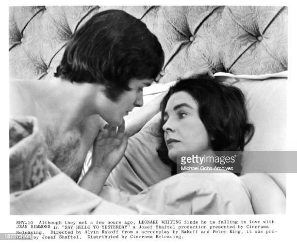 Actor Leonard Whiting and actress Jean Simmons on set of the Cinerama movie Say Hello to Yesterday in 1971