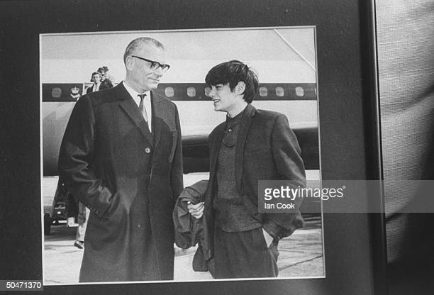Actor Leonard Whiting chatting w actor Laurence Olivier while they stand on tarmac at Heathrow Airport before boarding plane to Russia during Nat'l...