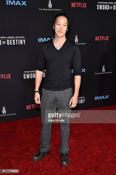Actor Leonard Wu attends the premiere of Netflix's Crouching Tiger Hidden Dragon Sword Of Destiny at AMC Universal City Walk on February 22 2016 in...