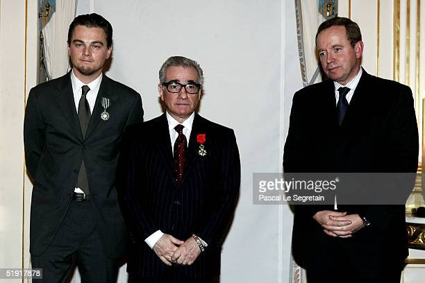 Actor Leonardo Di Caprio and film director Martin Scorsese pose during a ceremony at the Ministry of Culture in Paris January 5 2005 Di Caprio was...