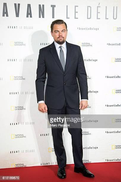 Actor Leonardo Di Caprio attends the 'Before the Flodd Avant le Deluge' Premiere at Theatre du Chatelet on October 17 2016 in Paris France