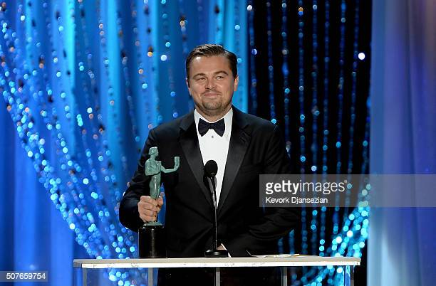 Actor Leonardo DiCaprio accepts Outstanding Performance by a Male Actor in a Leading Role for 'The Revenant' onstage during the 22nd Annual Screen...