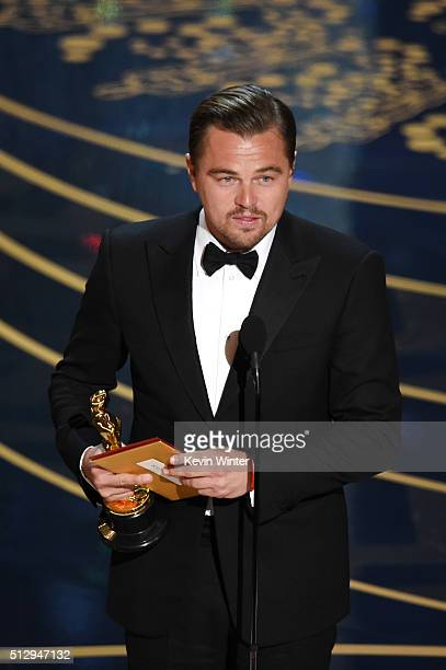 Actor Leonardo DiCaprio accepts the Best Actor award for 'The Revenant' onstage during the 88th Annual Academy Awards at the Dolby Theatre on...
