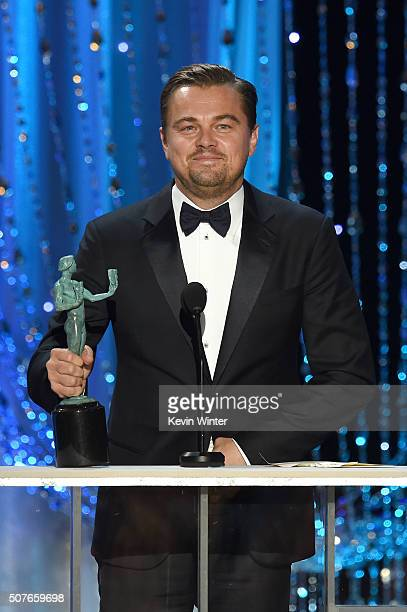Actor Leonardo DiCaprio accepts the Male Actor in a Leading Role award for 'The Revenant' onstage during The 22nd Annual Screen Actors Guild Awards...