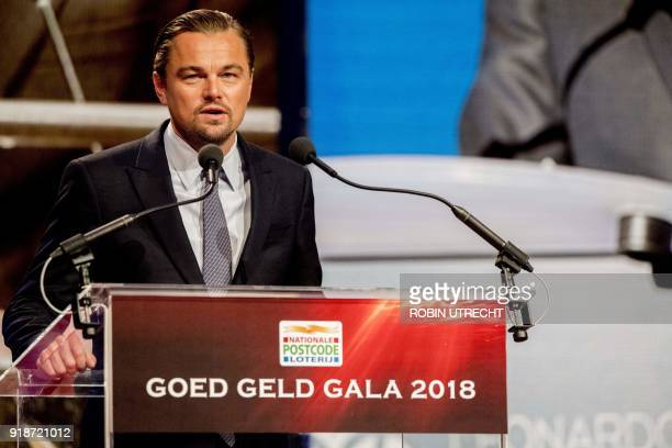 US actor Leonardo DiCaprio addresses the 'Goed Geld Gala' charity event at The Theatre Carre in Amsterdam on February 15 where the Dutch Lottery De...