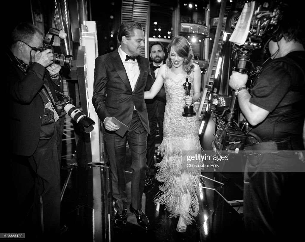 Actor Leonardo DiCaprio (L) and actress Emma Stone, winner of Best Actress for 'La La Land' backstage during the 89th Annual Academy Awards at Hollywood & Highland Center on February 26, 2017 in Hollywood, California.