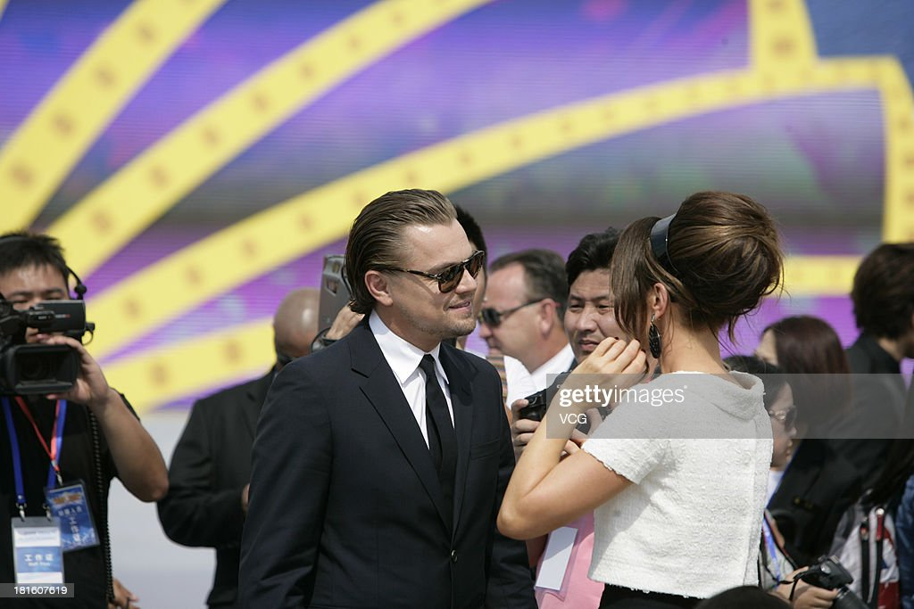 Actor Leonardo DiCaprio and actress Kate Beckinsale attend a launching ceremony for the Qingdao Oriental Movie Metropolis on September 22, 2013 in Qingdao, China.