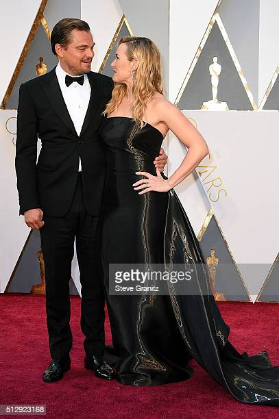 Actor Leonardo DiCaprio and actress Kate Winslet attend the 88th Annual Academy Awards at Hollywood Highland Center on February 28 2016 in Hollywood...