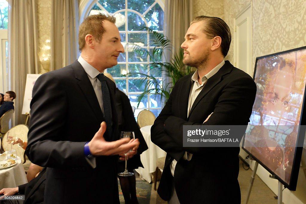 Actor Leonardo DiCaprio (R) and BAFTA LA Chairman Kieran Breen attend the BAFTA Los Angeles Awards Season Tea at Four Seasons Hotel Los Angeles at Beverly Hills on January 9, 2016 in Los Angeles, California.