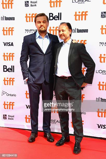 Actor Leonardo DiCaprio and director Fisher Stevens attends the Before The Flood premiere held at Princess of Wales Theatre during the Toronto...