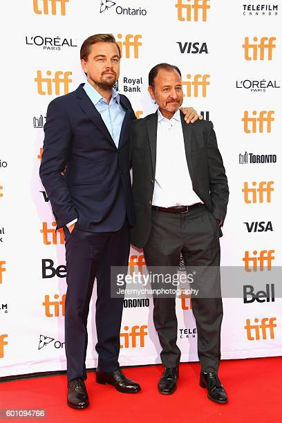 Actor Leonardo DiCaprio and director Fisher Stevens attends the 'Before The Flood' premiere held at Princess of Wales Theatre during the Toronto...