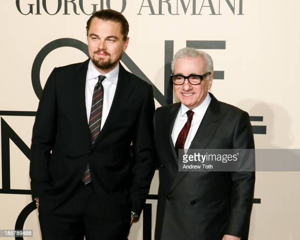 Actor Leonardo DiCaprio and director Martin Scorsese attend Giorgio Armani One Night Only New York at SuperPier on October 24 2013 in New York City