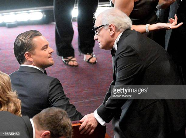 Actor Leonardo DiCaprio and director Martin Scorsese in the audience during the Oscars at the Dolby Theatre on March 2 2014 in Hollywood California