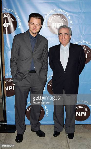 Actor Leonardo DiCaprio and Director Martin Scorsese pose at the Friends of NPI pre screening of The Aviator at the Egyptian Theatre on December 2...
