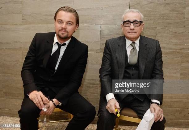 Actor Leonardo DiCaprio and filmmaker Martin Scorsese rehearse backstage at the 2014 National Board Of Review Awards Gala at Cipriani 42nd Street on...